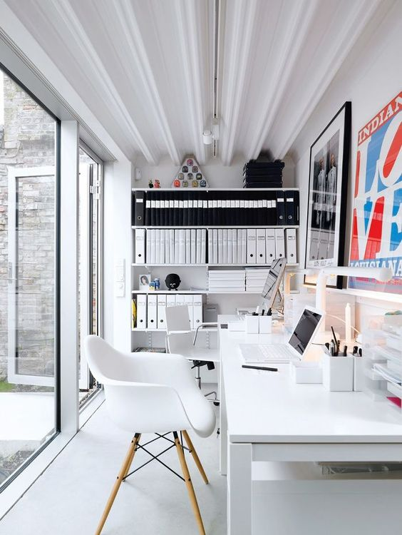 Shared Home Office, White Table, Molded White Chair, LOVE Poster Art