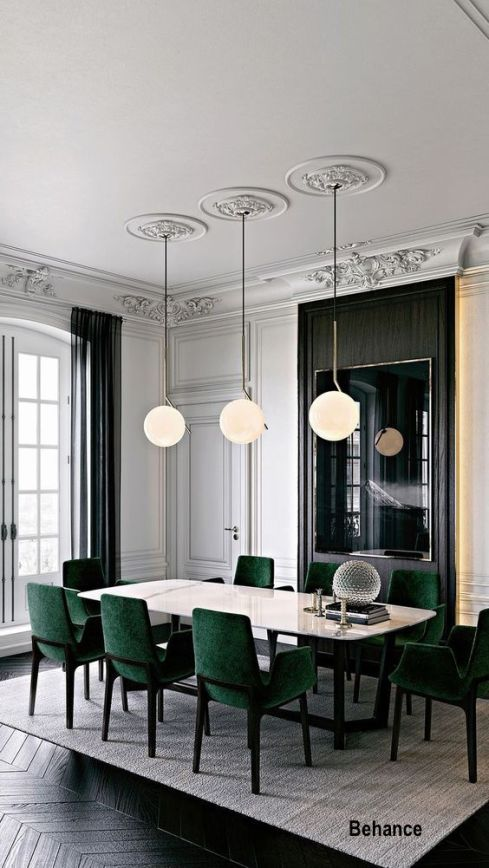 Modern Dining Room in European Traditional Architecture with Green Velvet Chairs
