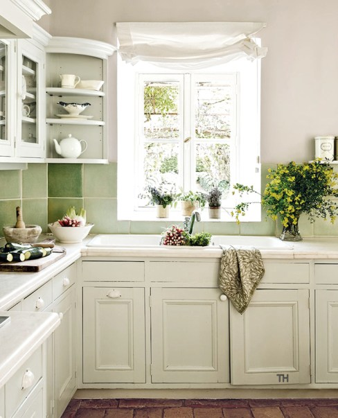 White Vintage Cabinets, Vintage Marble Counter Tops, Soft Green Splash Tile, Mexican Floor Tile