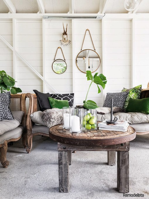 Shiplap, Green and Black Pillows, Rustic Furniture