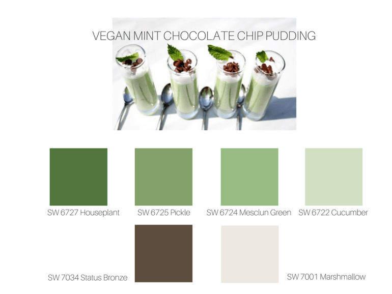Perfect Green Paint Colors Inspired by Looneyforfood Vegan Mint Chocolate Shop Pudding