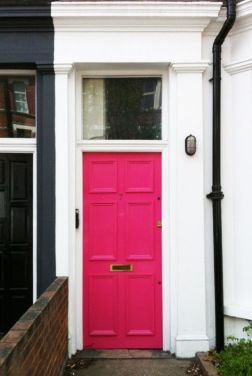 Neighbors, side by side and the pink door fits right in!-via pinterest