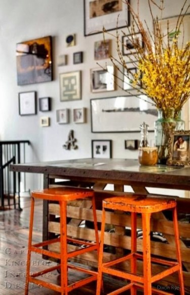 How Fallish Is This Rustic Counter with Metal Orange Stools Compliments of Capella Interior Design