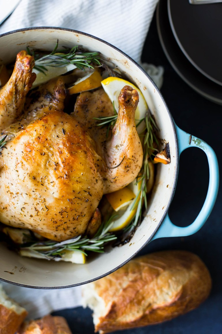 kjandcompany-roasted chicken in blue french oven pot