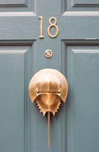 copper crabshell door knocker on gray door via pinterest