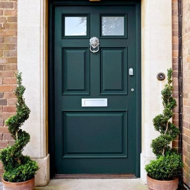 Brick Homes Are A Natural Fit For Doors Painted Green-via Pinterest