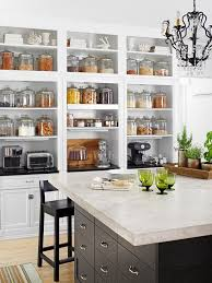 Custom White Shelves in Kitchen with Large Glass Doors