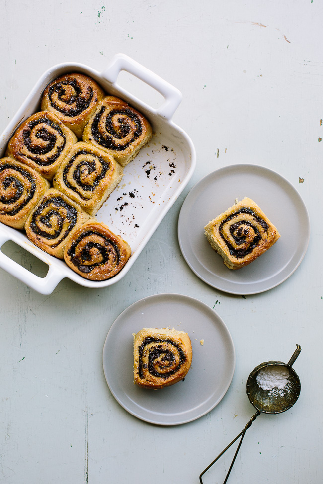 gatheranddine- Nothing says fall like a dish of sweet rolls in a simple white baking dish!