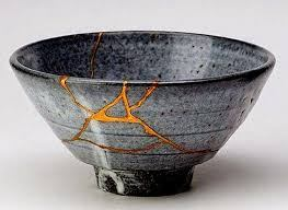 zen-vita wabi-wabi gray rice bowl with gold leaf crack repair