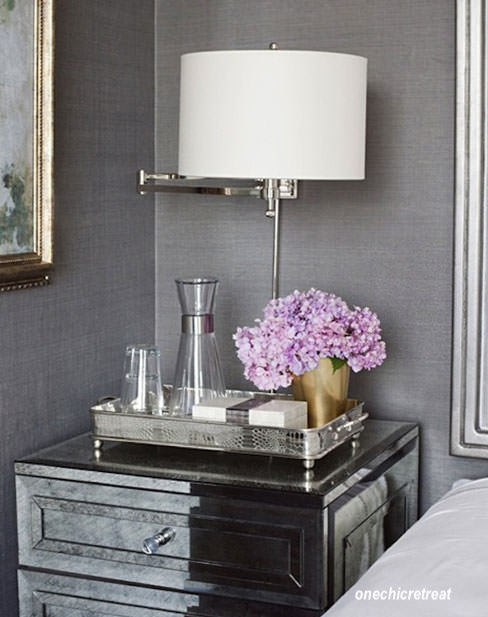 Bedroom night stand tray with water carafe-onechicretreat photo