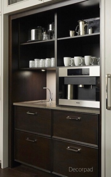 decor pad coffee station in pantry