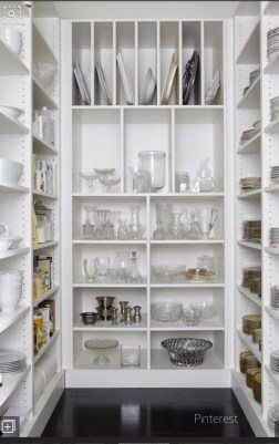 Ready made white shelf units make glorious dish storage pantry via pinterest