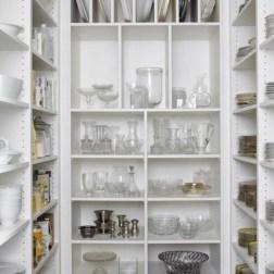 Ready made white shelf units make glorious dish storage pantry via pinterest