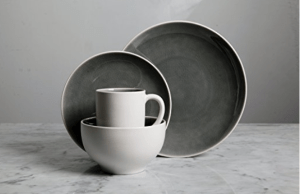 Gibson Grey/White Elite Dinnerware