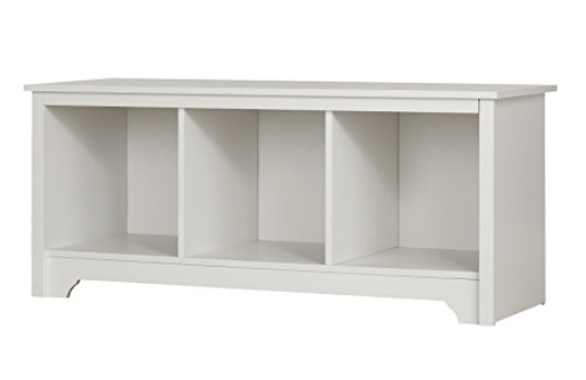 cookbook storage white bench with storage cubbies