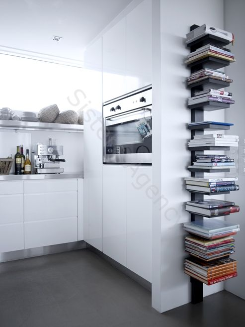 Spine Tower with Cookbooks In Kitchen