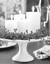 Christmas Decorations Candles On A Cake Stand