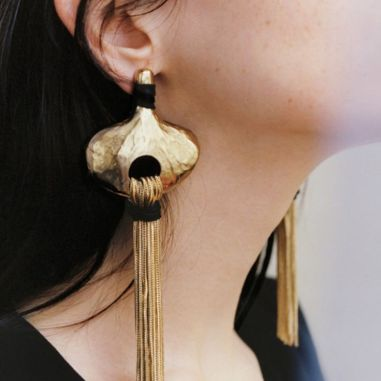 Gold and Black Long Drop Earrings