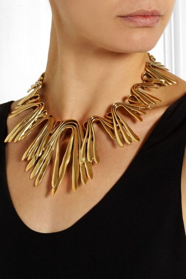 Gold Statement Necklace and little black dress