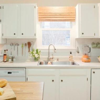 Pegboard As Splash In Kitchen