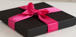 Black Gift Box with Magenta Bow