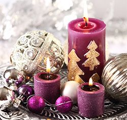 Magenta and Gold Christmas candles and ornaments