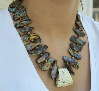 Bronze and Ivory Statement Necklace
