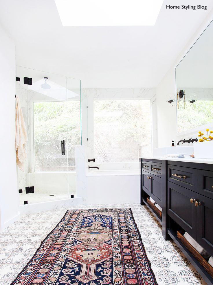 Home Styling Blog Bright White Bath with Patterned Tile, Persian Rug, Shower and Tub