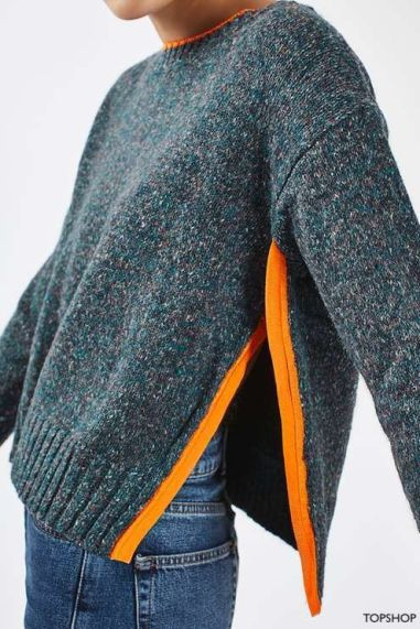 topshop green and orange heather tweed sweater