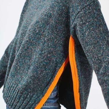 topshop green and orange heather tweed sweater