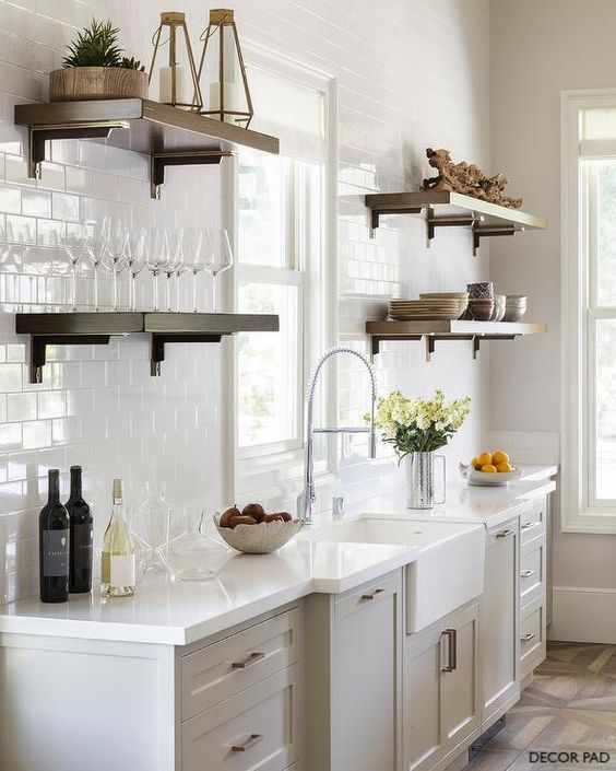 decorpad gray cabinets with white quartz top and high arc faucet