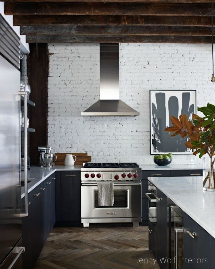 Jenny Wolf Interiors Painted Brick Wall Kitchen