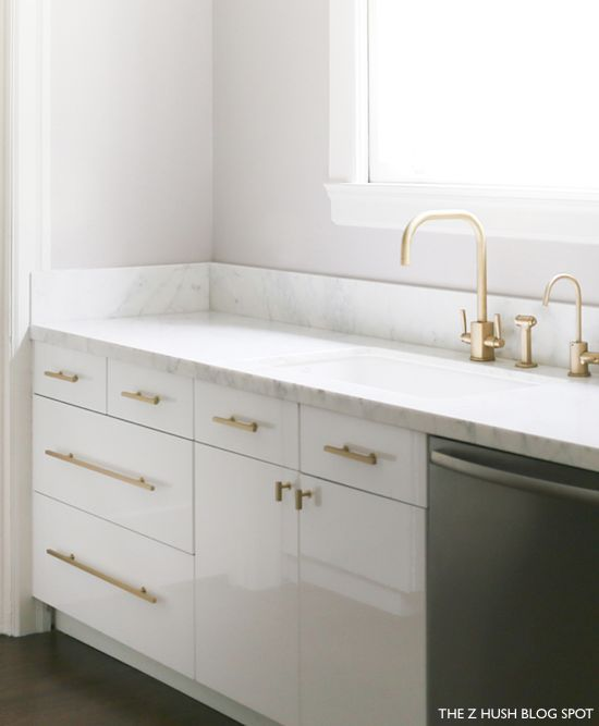 The Z Hush Blog Simple White Kitchen with Brass Faucet