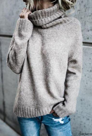 chicnico grey oversized turtleneck sweater