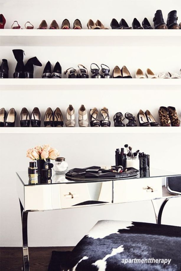 apartment therapy shoe shelves over desk