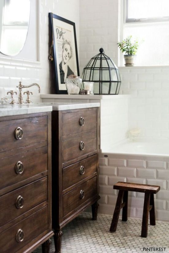 Stained Wood Drawer Vanities with Moen Weymouth Vanity Faucets