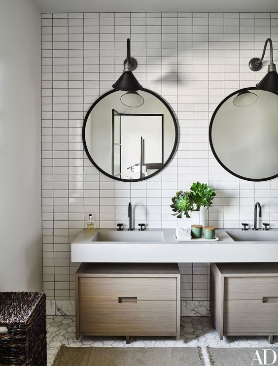 Architectural Digest Bathroom with Black Faucets