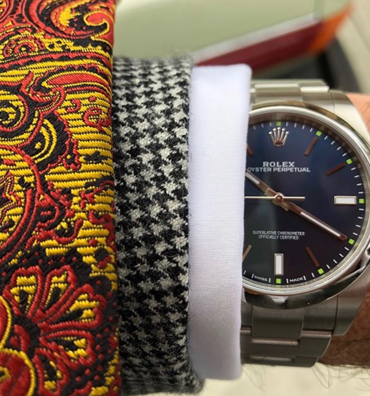 styleafter50 rolex, houndstooth and paisley mixed patterns