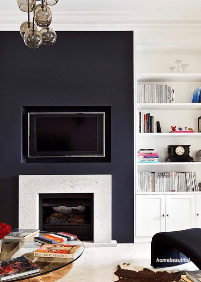 Home Beautiful Living Room With Black Fireplace Chimney