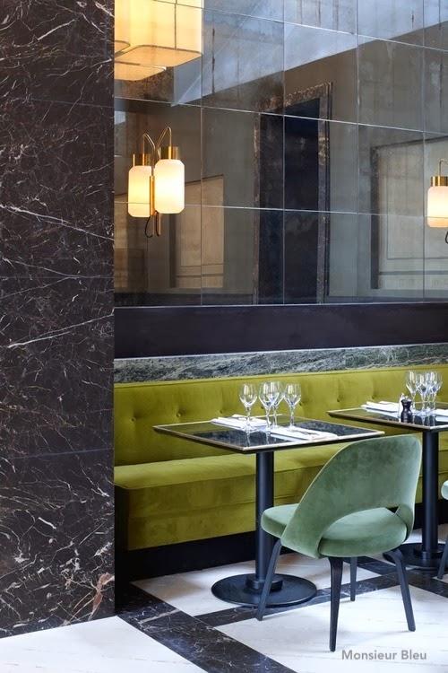 monsieurbleu-mossy green velvet bench-velvet chair-mirrored wall-sconces
