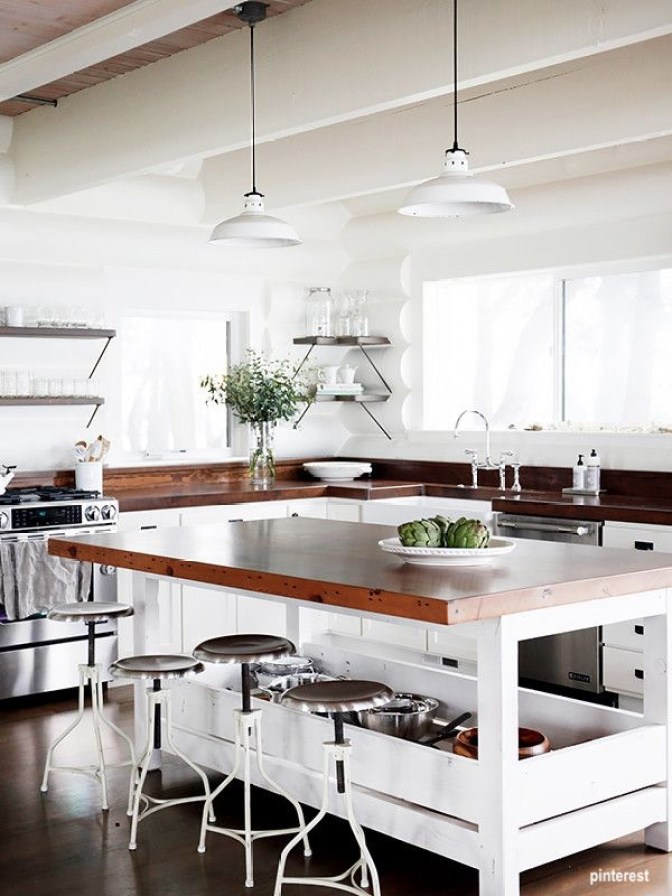 pinterest DIY white open wood island with slab wood top