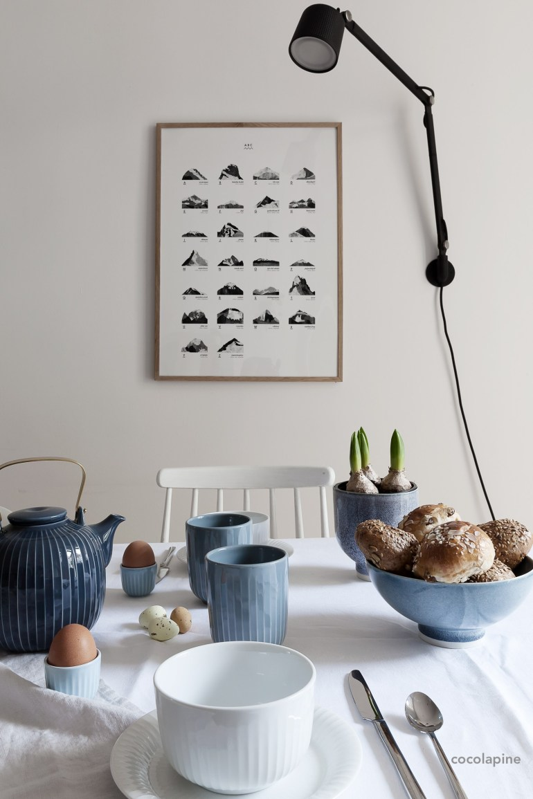 breakfast table with blue and white dishes via coco lapine