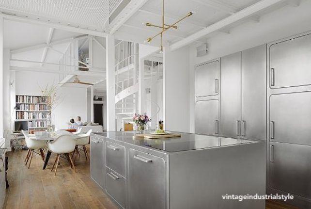 vintageindustrialstyle stainless steel kitchen island
