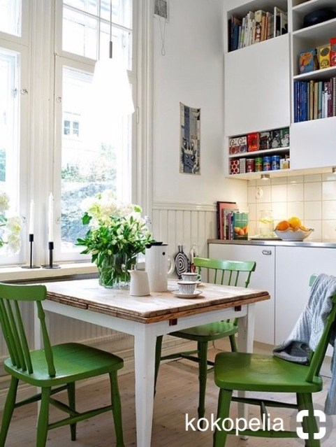 kokopelia eat in kitchen table with grass green paint chairs