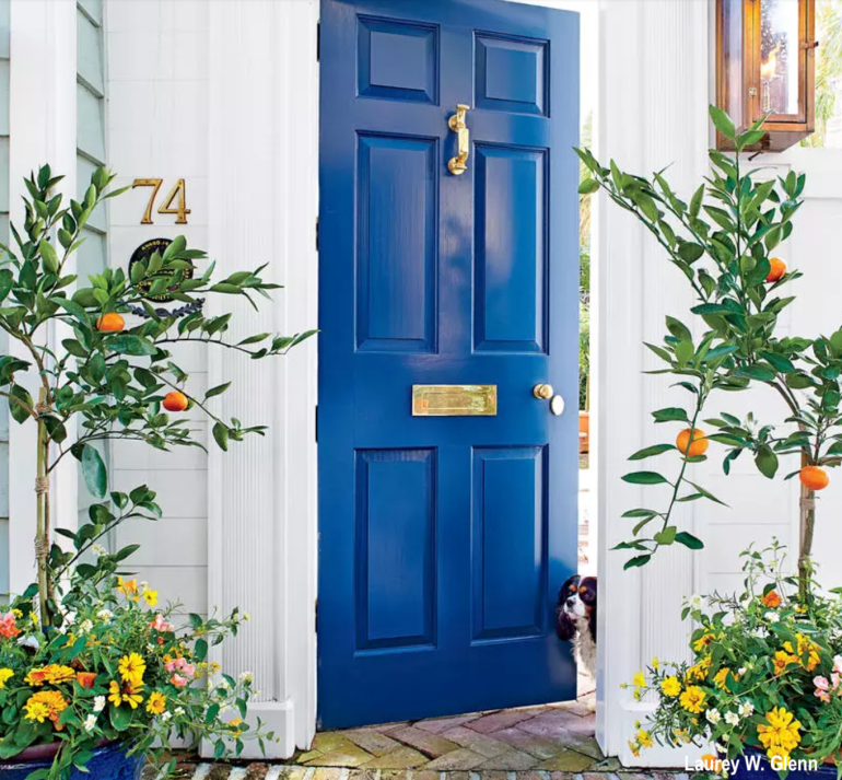 Southern Living Laurey W. Glenn Blue Door and Potted Orange Trees and Plants