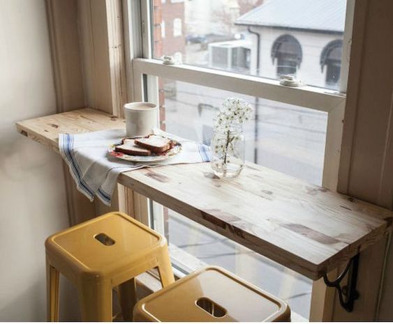 via pinterest breakfast bar in front of window
