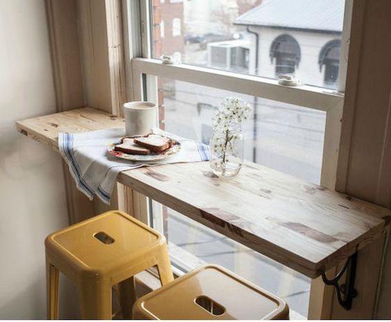 via pinterest breakfast bar in front of window