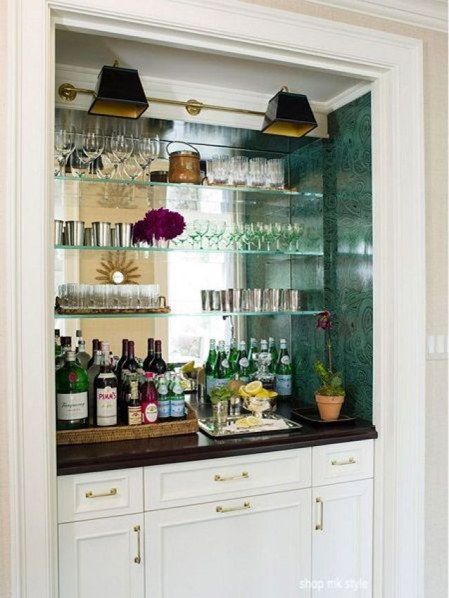 shop mk style - bar in a closet- mirrored walls- glass bar shelves