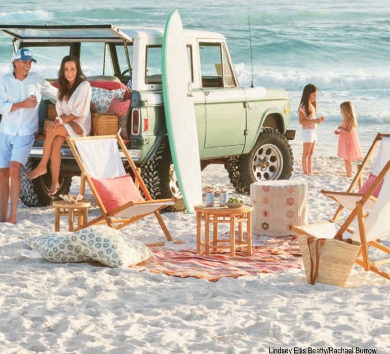 Lindsey Ellis Beatty-Rachael Burrow Beach Scene- Green Jeep-White Canvas Beach Chairs