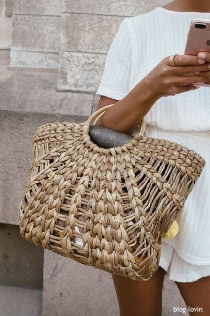 bloglovin- woven bag- white short set